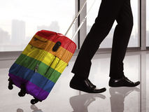 Suitcase with LGBT flag pattern Royalty Free Stock Photos