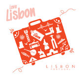 Suitcase Lisbon Travel Monuments in Lisbon. Vector illustration Stock Photo