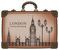 Suitcase london. Travel suitcase with flag of Britain and Big Ben Stock Photography