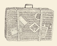 Suitcase Luggage Engraved Retro Hand Drawn Sketch Stock Image