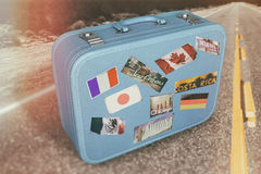 Suitcase Luggage Travel Road Royalty Free Stock Images