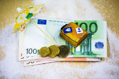 Suitcase lying on banknotes, holiday, holiday allowance, travel Stock Photo