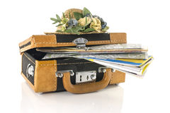 Suitcase with maps for travel destinations Royalty Free Stock Image