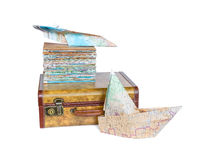 Suitcase and maps on white background stock images