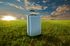 Suitcase in meadow Stock Images