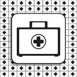 Suitcase with medications. First aid kit. Vector symbol.  Black and white image on a black and white background. Royalty Free Stock Image
