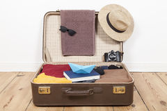 Suitcase with menswear. For vacation Royalty Free Stock Images