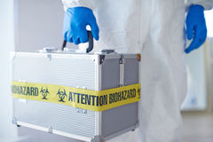 Suitcase with microbiological weapon Royalty Free Stock Photo