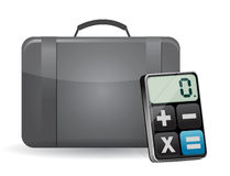 Suitcase and modern calculator Stock Photos