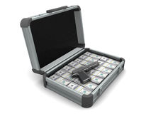 Suitcase with money and gun Royalty Free Stock Photo