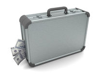 Suitcase with money inside Stock Image