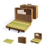 A Suitcase of Money. Packing in bundles of bank notes. Isolated on white background. Image for your design projects Royalty Free Stock Photography