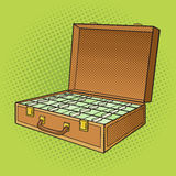 Suitcase with money pop art style vector Royalty Free Stock Images