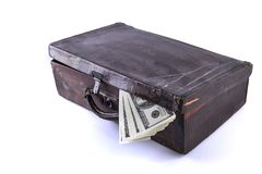 Suitcase and money Royalty Free Stock Photos