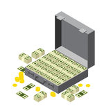 Suitcase of money, wads of dollars and coins. isometric Royalty Free Stock Image