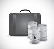 Suitcase and oil barrels illustration Stock Photography