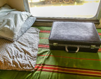 Suitcase in Old Sleeper Car Royalty Free Stock Image