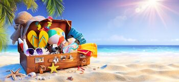 Free Suitcase On Sand In Tropical Beach With Sunny Sea Stock Photography - 220384732