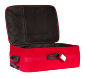 Suitcase, Open Empty Travel Luggage, Red Baggage Bag, Tag Stock Image