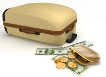Suitcase and open purse Stock Photo