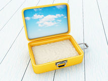 Suitcase open with sand. 3D Illustration. Suitcase open with sand. Travel and holidays concept Royalty Free Stock Image