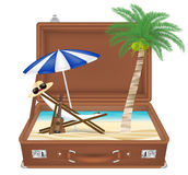 Suitcase open with sea and beach scene in side Stock Images