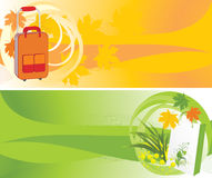 Suitcase, Package And Maple Leaves. Backgrounds Royalty Free Stock Image