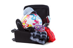 Suitcase Packed to Vacation, Open Trip Concept Royalty Free Stock Photography