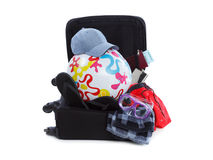 Suitcase Packed to Vacation, Open Trip Concept Stock Photo