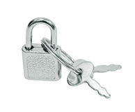 Suitcase padlock with keys Stock Images