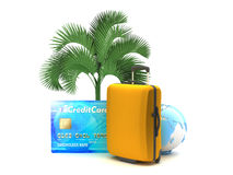Suitcase, palm tree, credit card and earth globe Royalty Free Stock Images