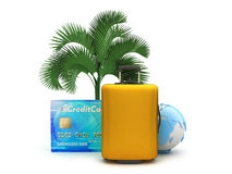 Suitcase, palm tree, credit card and earth globe Stock Photo