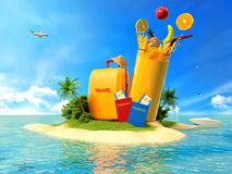 Suitcase with palm trees, juice and passports Stock Images