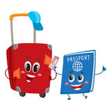 Suitcase and passport characters, travelling, vacation concept Royalty Free Stock Photography