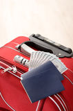 Suitcase, passports and money Royalty Free Stock Photography