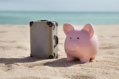 Suitcase and piggy bank Royalty Free Stock Image