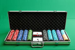 Suitcase for poker Stock Images