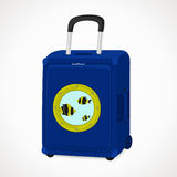 Suitcase with porthole. S for tourists, blue, vector format Stock Photos