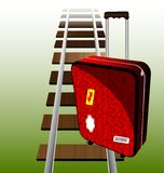 Suitcase on the rails. Against the background of railroad rails is a big red suitcase traveler Royalty Free Stock Images