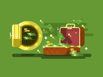Suitcase and safe with money Royalty Free Stock Photography