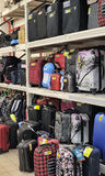 Suitcase Sale. Rack with suitcases  in supermarket Royalty Free Stock Image