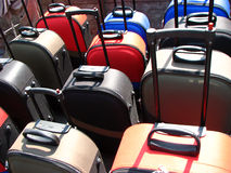 Suitcase Sale. Colorful suitcases for sale in a shop Stock Images