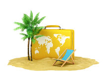 Suitcase on the sand near the palm trees Royalty Free Stock Photography