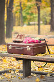Suitcase, scarf, boots and umbrella on bench Royalty Free Stock Photography
