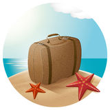 Suitcase At The Sea Beach Royalty Free Stock Photos