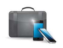 Suitcase and set of phones. illustration Royalty Free Stock Photography