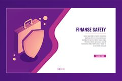 Suitcase with shield, business protection and safety, finance insurance, money investment concept isometric. Vector Royalty Free Stock Photos