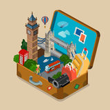 Suitcase sights landmarks vacation travel flat isometric vector Stock Photography