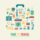 Suitcase silhouette with travel flat icons. Travel and tourism concept. Summer holidays. Vector Stock Photos