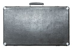 Suitcase of silvery color on a white background Royalty Free Stock Image